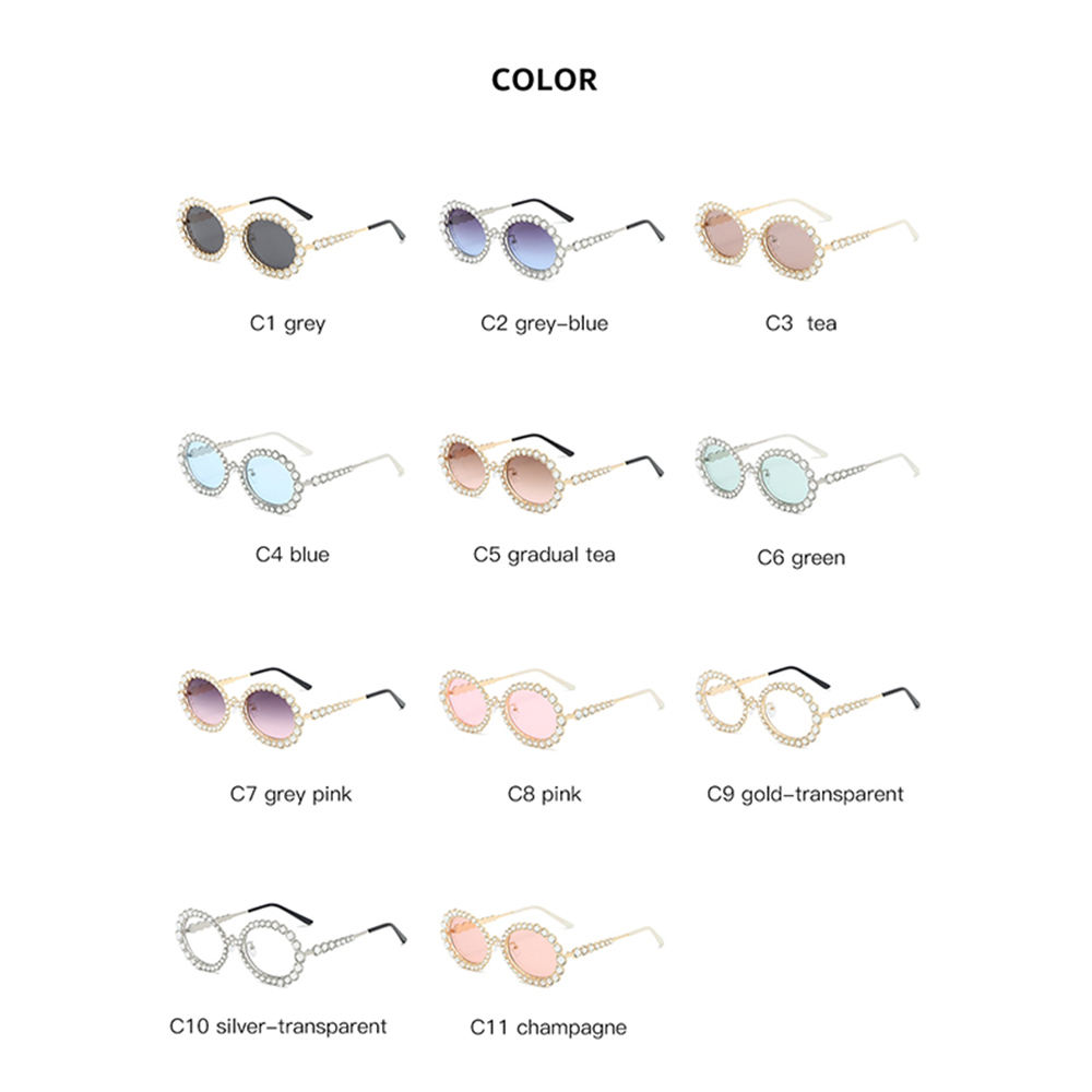 2020 New Arrival Fashion Diamond Sunglasses Style Luxury Round Small Frame Oval Metal Circles Shades Women Sun Glasses