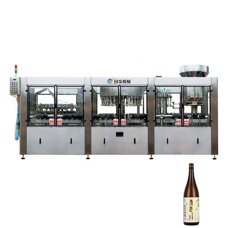 3-In-1 Fully Automatic Juice Spirit Energy Drink Small Glass Wine Bottle Washing Filling Capping Labeling Machine