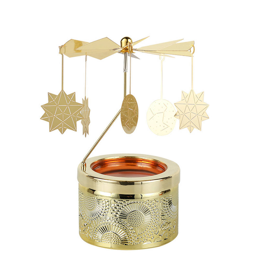 Custom Golden Carousel Rotary Constellation Around Geo Cut Glass Jar Tealight Candle Holder For Home Decor