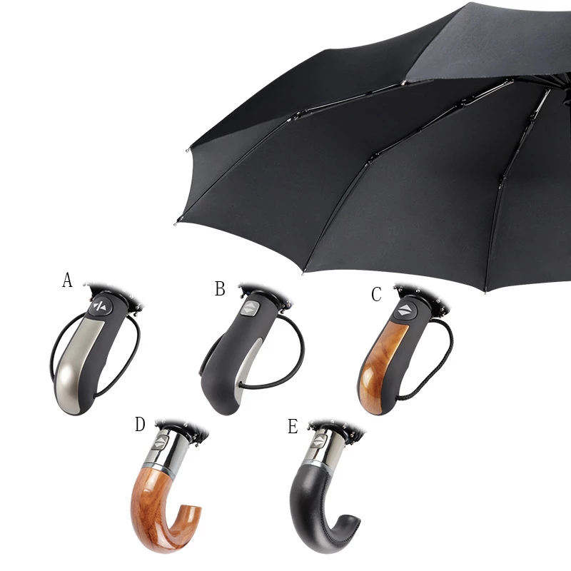 2020 multistyle rain product wholesale windproof custom automatic 3 fold umbrella hook wooden handle with logo prints