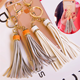 Zhongshan Oneway Custom Gold Black Faux Leather Suede Pu Handbag Tassel Keychain
