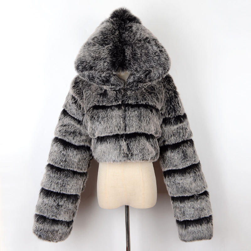 2020 new winter coat jacket ladies faux fox fur coat hood fashion short style fake fur coat ladies clothes