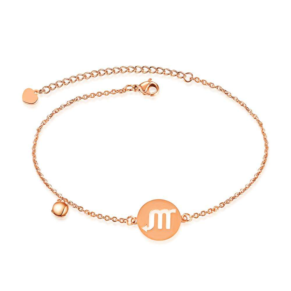 Rose Gold Plated Symbol Sign 12 Constellation Zodiac Anklets for Women Foot Chain Jewelry