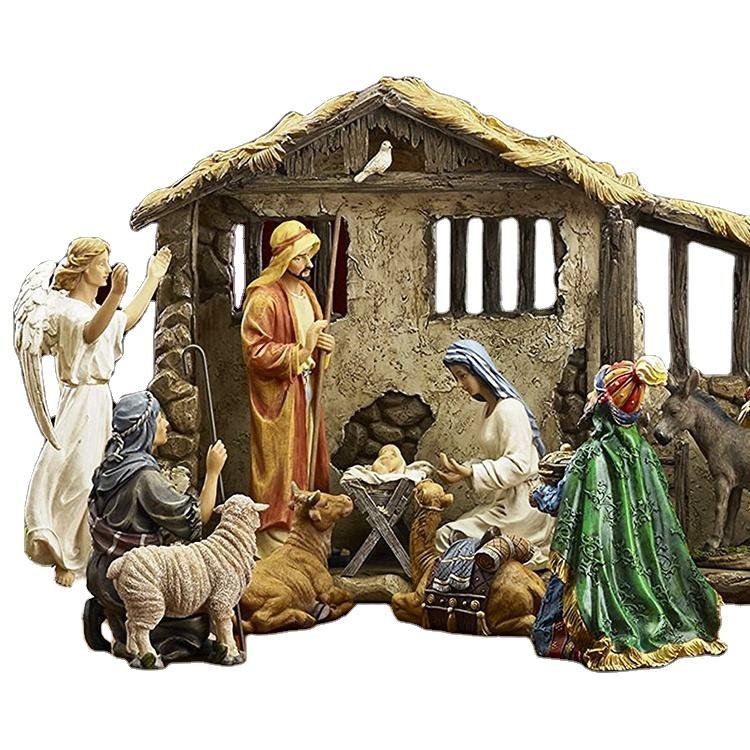 Premium Quality Holy family figurine Religious Ornament Resin Christmas Nativity Sets