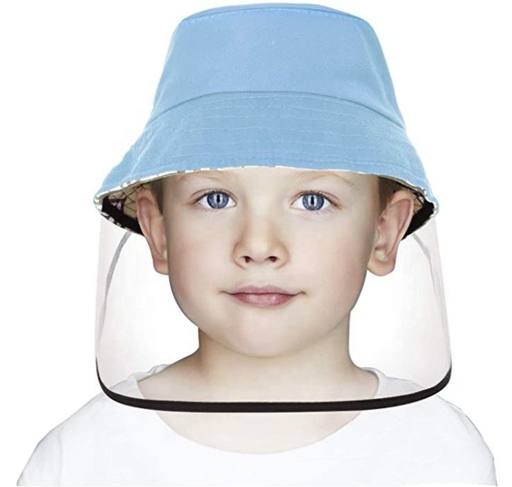 Bucket Hat with Removable Full Face Shield for Kids With Adjustable Lightweight Comfortable Anti-Spitting Protective Anti Saliva