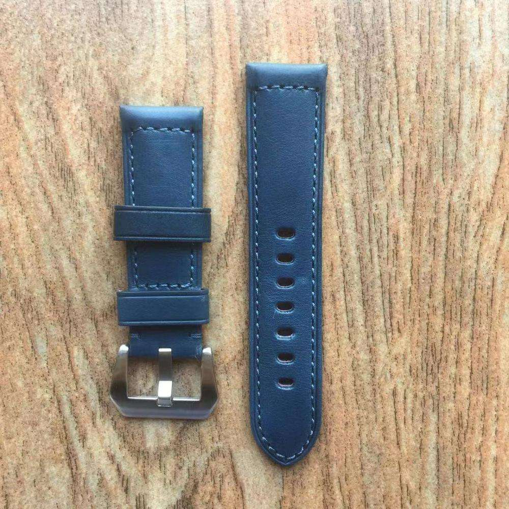 For Officine-Panerai-Luminor-Marina PAM 24mm Lug Handmade Thick Soft Dark Blue Bull Leather Watch Wrist Strap Band Pre-v Buckle