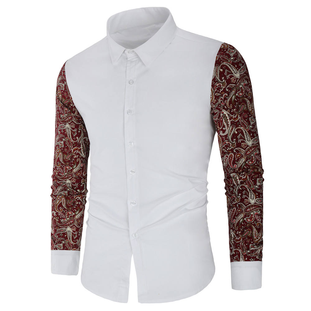 wholesale High Quality Printed Long Sleeve Spring Office Casual Men's Shirts