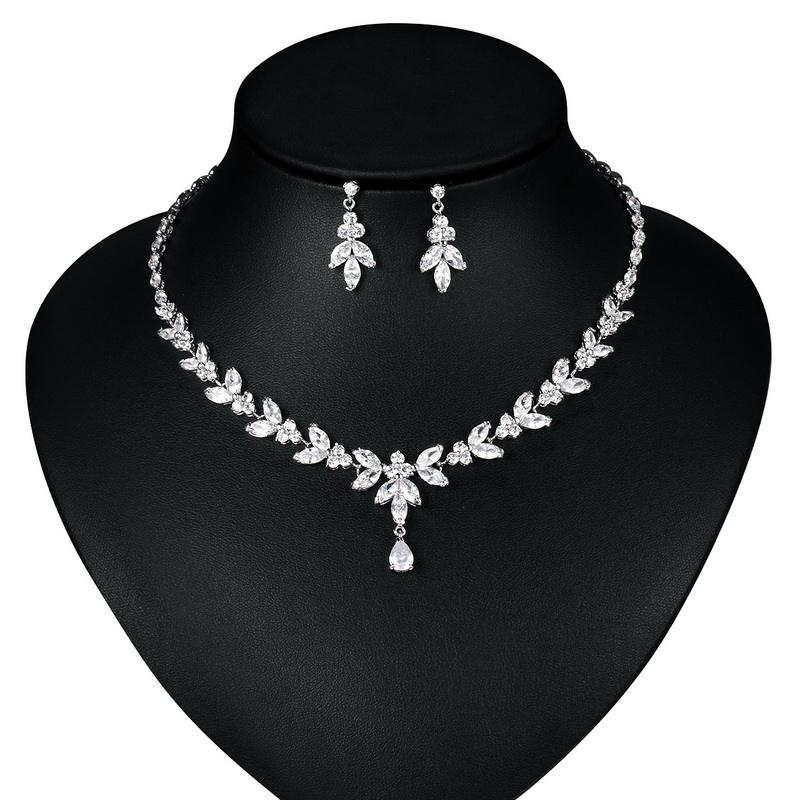 Elegant Teardrop and Marquise Cubic Zirconia CZ Necklace Earring Bridal Wedding Jewelry Set in White Gold / Rose Gold Plated