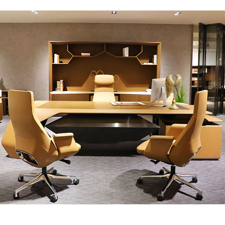Louis CEO Boss Director Office desk H-02 big size executive desk luxury office furniture table Veneer Finished