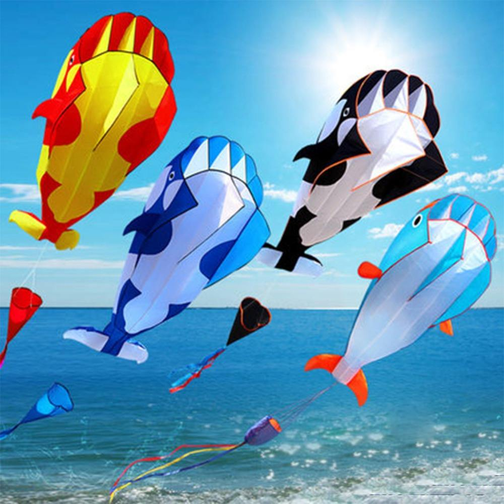 3D Soft Whale Shaped Frameless Flying Kite Children Outdoor Sports Toy Kids Funny Gift