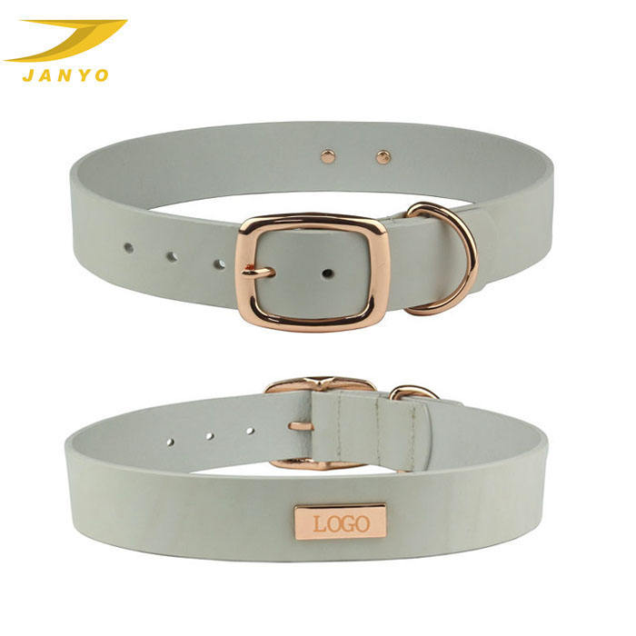 OEM Luxury Rose Gold Buckle Leather Dog Collar With Name Plate