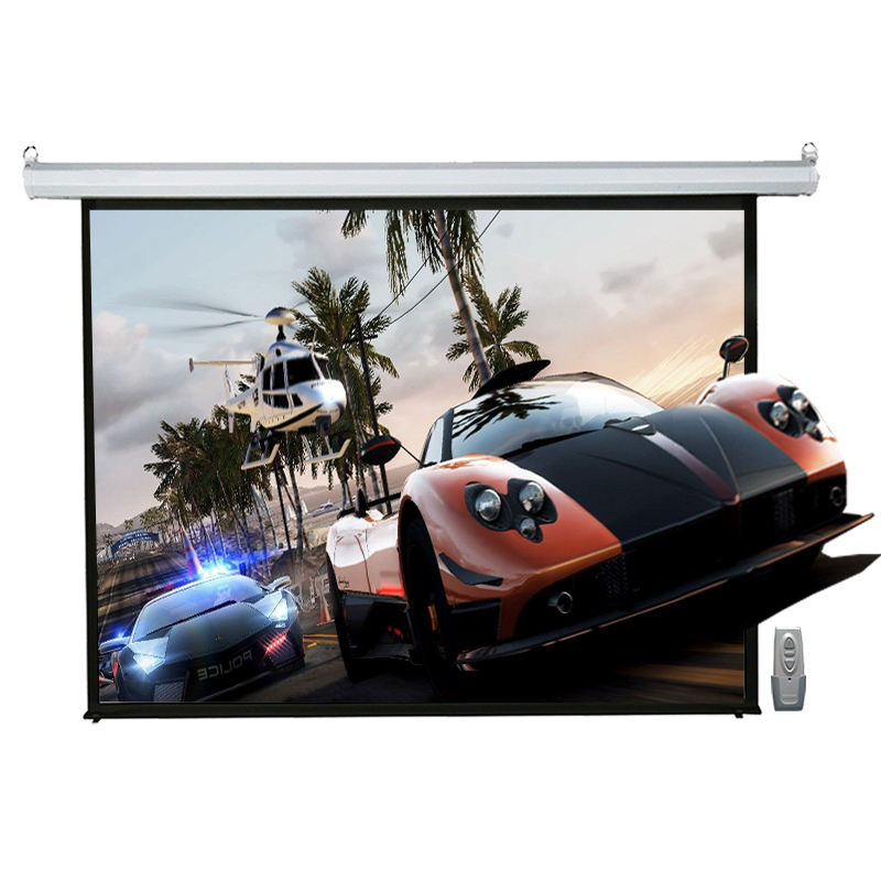 Small Motorized Projector Screen 84 Inch 4:3 Electric Projection Screen Glass Beaded Matt White For Home Theater