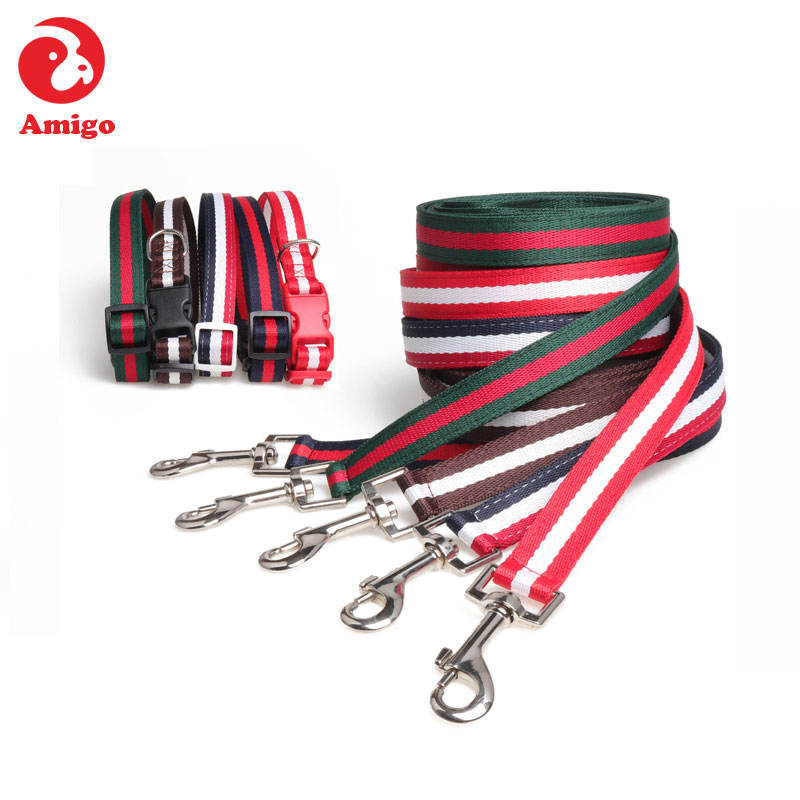 Amigo wholesale in stock pet nylon dog collar and leash for medium/large dogs