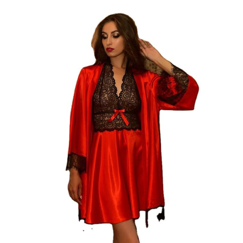 Hot Sale Women Sleepwear Set Bathrobe Style Blouse Full Sleeve Lace Satin Patchwork Glossy V-neck Night Sexy Sleepwear Ladies