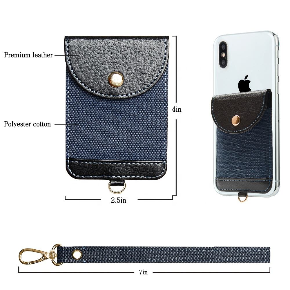 Mini Credit Card Holder Small Money Coins Pouch PU Leather Sticky Magnetic Flap Pocket Wallet Card Holder for Cell phone