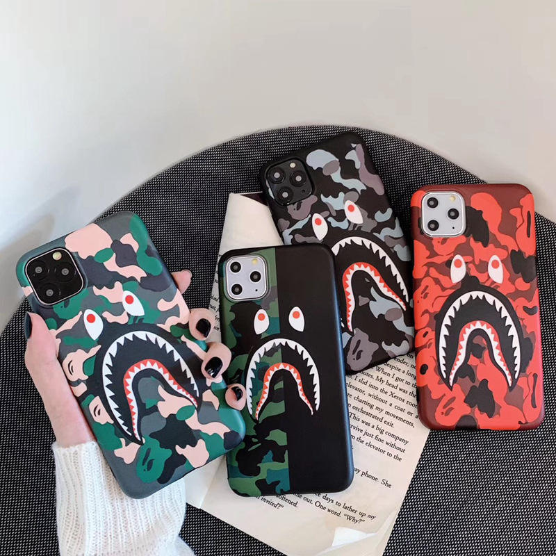 for iPhone 11 Pro Max 11Pro 11 7 8Plus X Xs Max Fashion Brand Ape Bape Camo Shark Cool Case