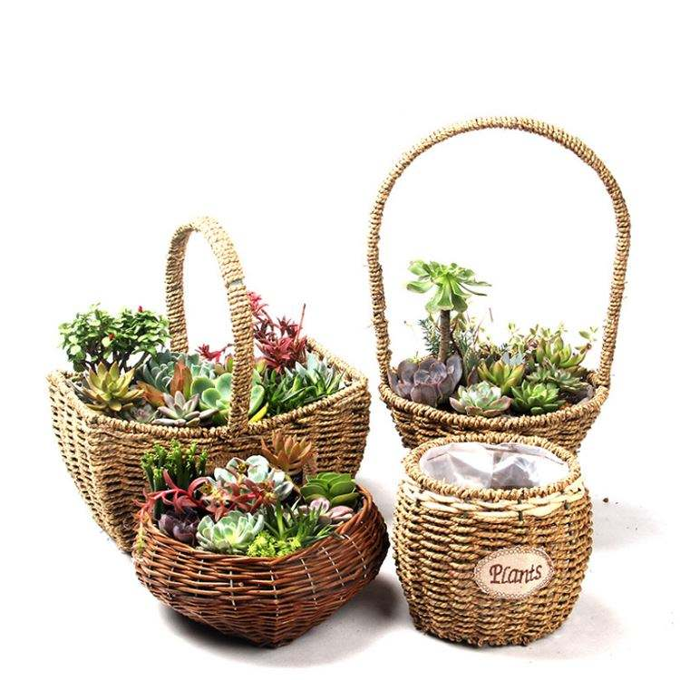 Wedding Decor Wicker Box Laundry Storage Seagrass Portable Succulent Plant Basket Handmade Container Straw Flower Basket