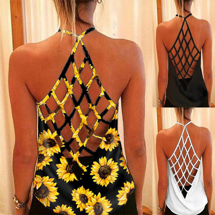 Donna Parti Superiori di Estate T-Shirt Backless Dalla Fasciatura di Girasole Tank Top Sexy Delle Donne