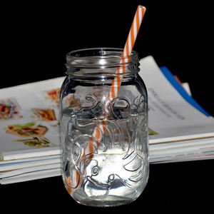 500ml food grade large customized logo colourful 16oz sealing clear glass drinking mason Jars storage beverage glass jar