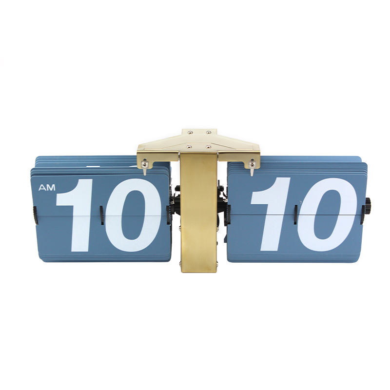 Golden Stainless Steel Blue Page Retro Flip Alarm Clock Product