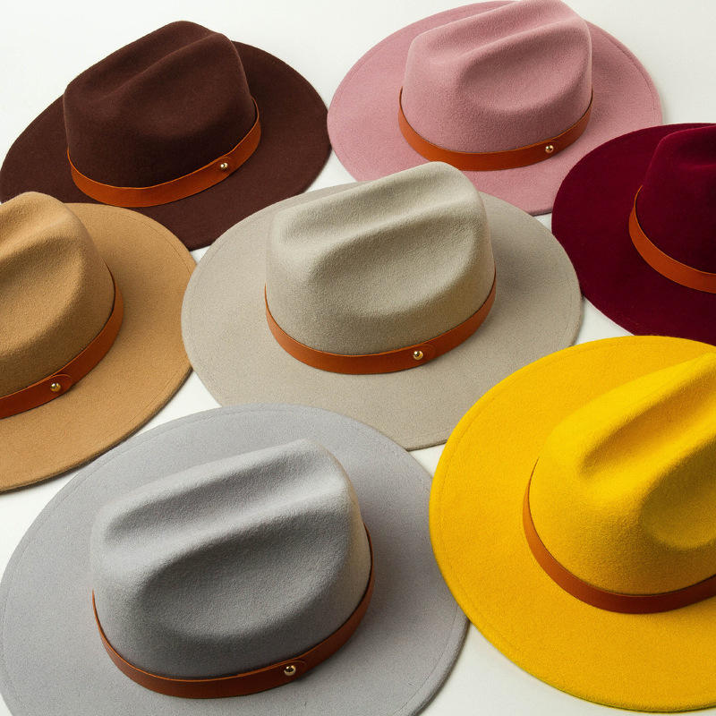 high quality solid color leather ribbon kids rock flat brim wool fedora hat wholesale