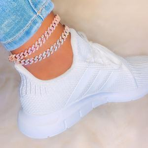 wholesale high quality white pink cz cuban chain foot anklet for women hip hop foot bracelet jewelry drops hip beach jewelry