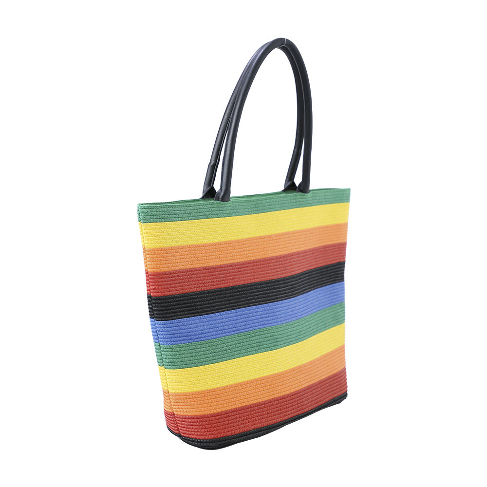 Ladies wholesale summer beach/colorful rainbow dyed/paper braid stitching/straw ring portable tote bag