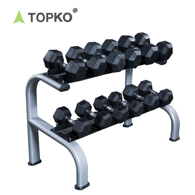 TOPKO china factory cheap gym equipment rubber dumbbell set with rack