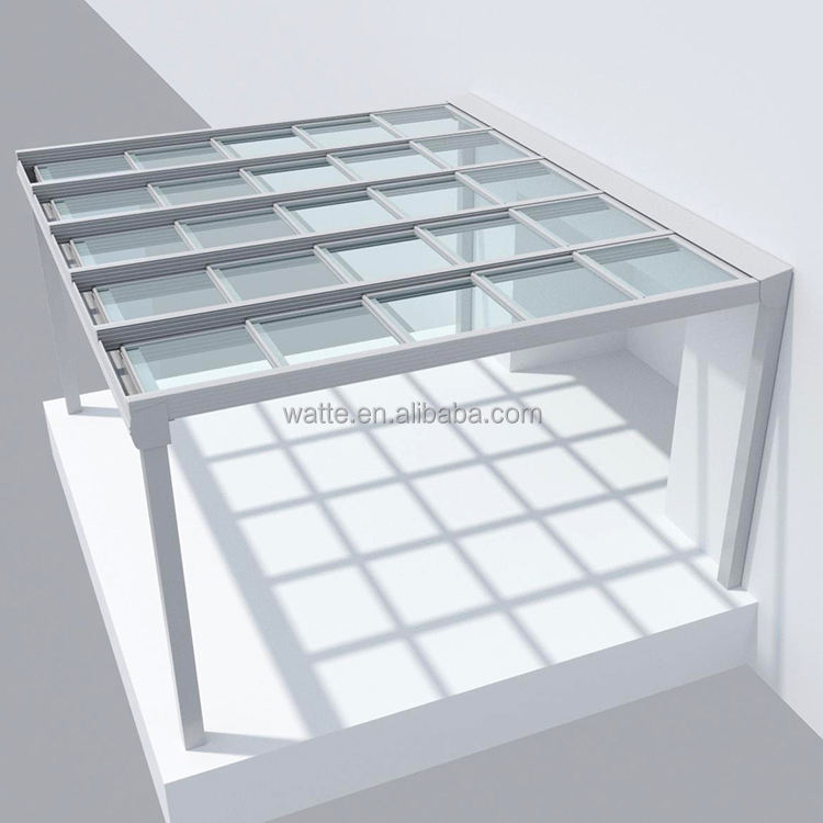 Aluminum Sliding Retractable Design Glass Pergola Patio Electric Roof System Vent Window Automatic Roof