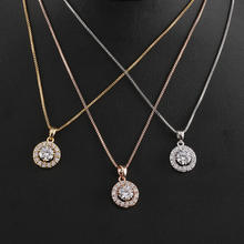 ROMANTIC Elegant Cubic Zirconia Women Fashion Rose Gold Earring Necklace Jewelry Set