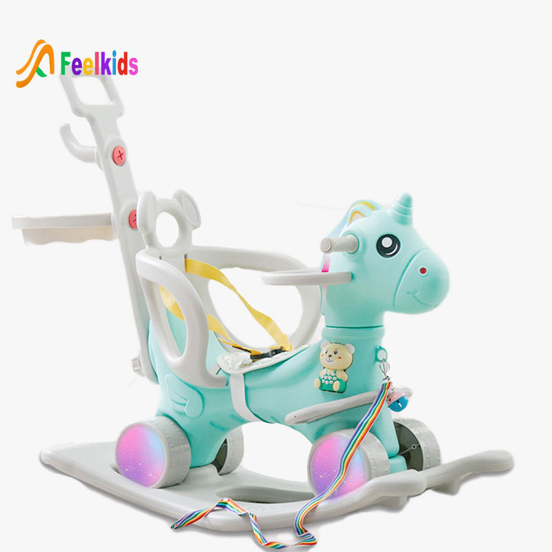 Feelkids hot sale unicorn baby toys plastic rocking horse for kids
