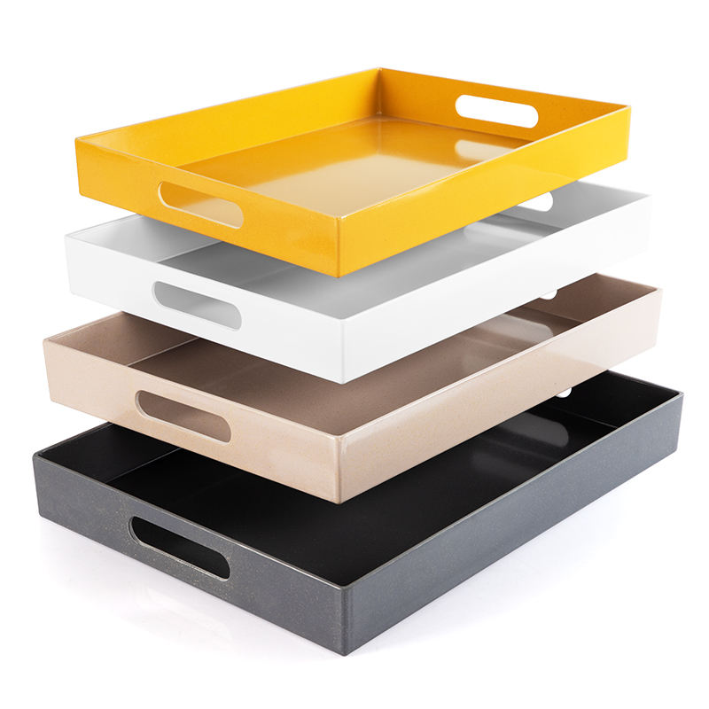 Bamboo Fiber Melamine Serving Trays with Handle Premium Modern Plastic Food and Drink Tray for Parties Coffee Table Home Storage