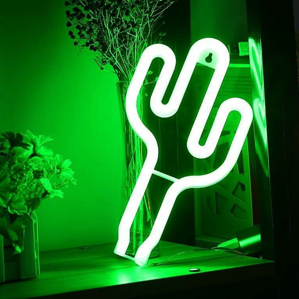 SHENPU Fashion Battery Powered Neon Light Night Lamp Led Cactus Neon Light japanese neon sign For Party Decoration