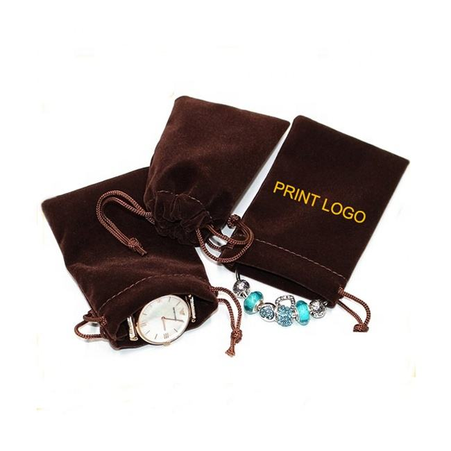 custom logo print drawstring gift watch cosmetic perfume sunglass hair dryer packaging jewelry velvet pouch