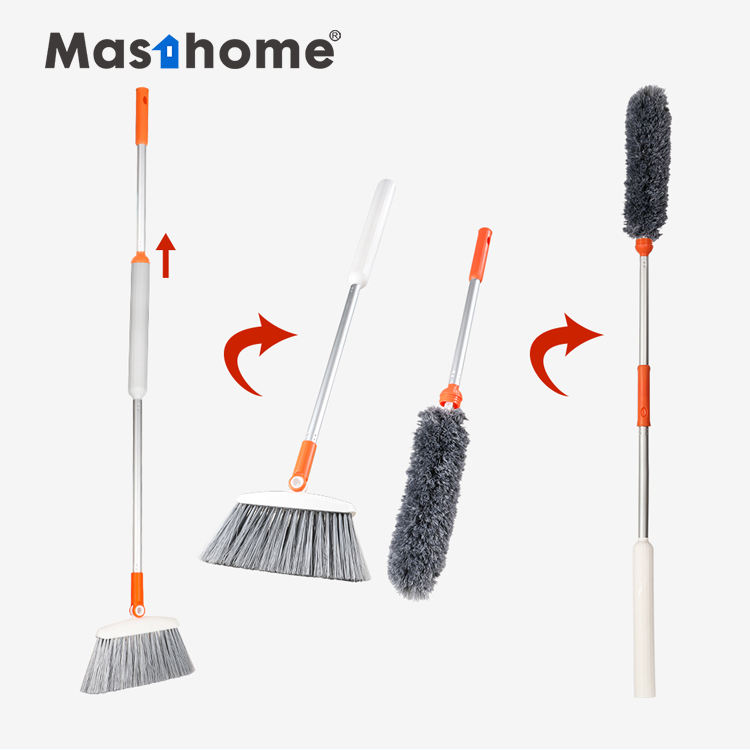 Masthome 2 in 1 China plastic brushes garden grass floor cleaning soft magic brooms brush handle microfiber duster set