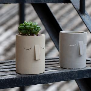 European-style cement flower pot abstract human face simple literary white indoor succulent green plant pot
