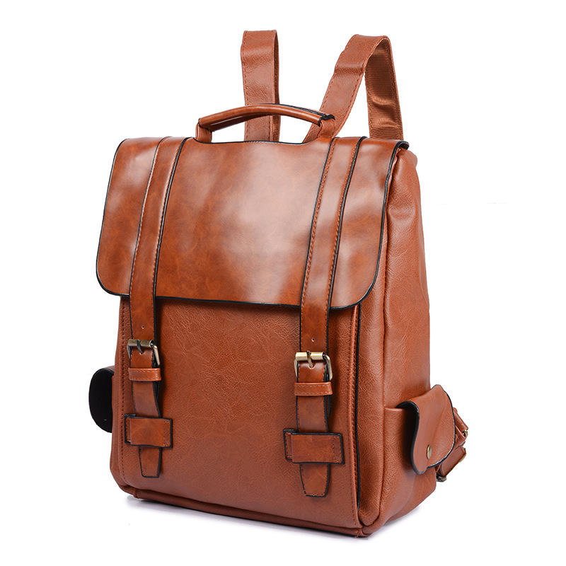 Italy style high-level men daily rucksack Pu leather backpack outdoor carry