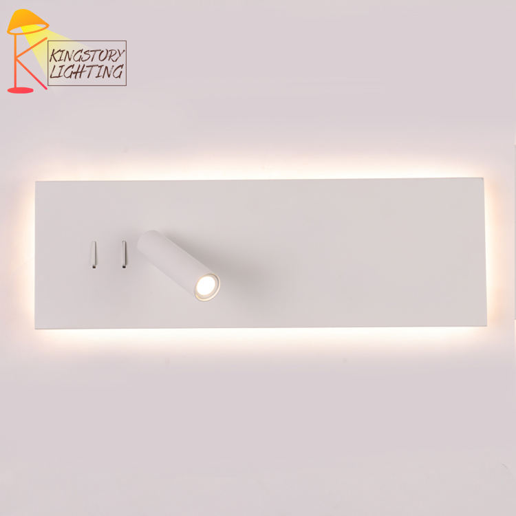 Modern hotel bedroom bed headboard light recessed mounted 2w led reading wall lamp