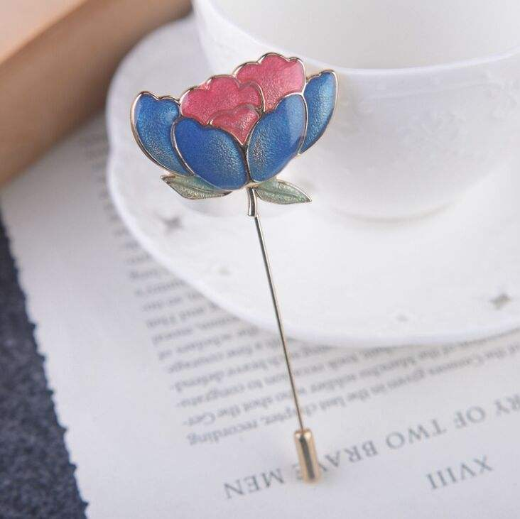 Men's rose Flower Lapel pin Stick Brooch badge for Party Wedding Boutonniere,Love Gift for Valentines Birthday Christmas Deco