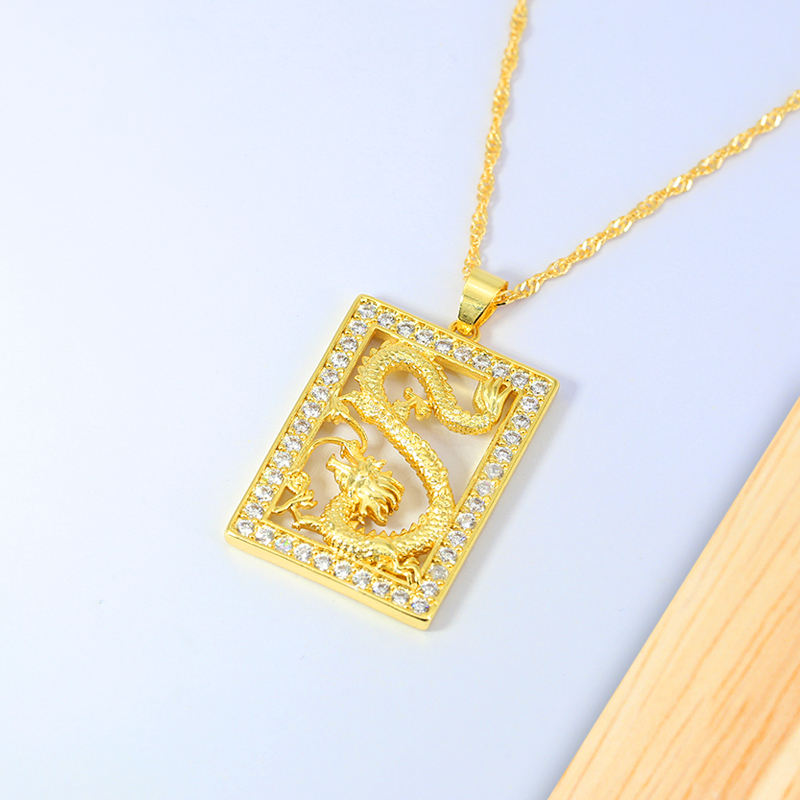 Luxury Hip Hop 18K Gold Plated Cubic Zirconia Iced Out Square Snake Pendant Necklace Jewelry Gold Dragon Necklace