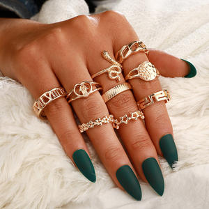 9Pcs/Set Fashion Jewelry Hollow Star Flower Shape Animal Snake Gold Finger Midi Rings Set Women Wholesale