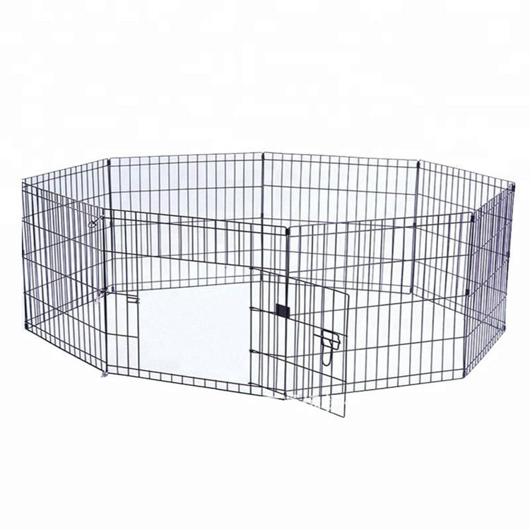 Foldable Dog Playpen Crate Fence Pet Kennel Play Pen Exercise Cage 8 Panel Black