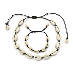 Factory Directory Wholesale Adjustable Rope Boho Styles White Shell Jewelry Set For Women