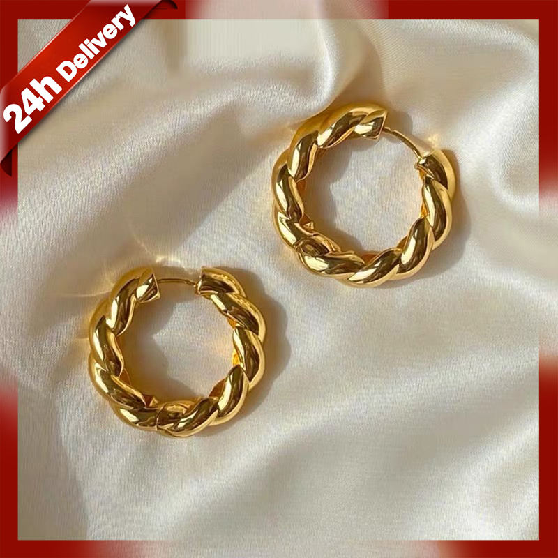 NO MOQ wholesale price 18K gold plated brass earrings women jewelry Dylam jewelry