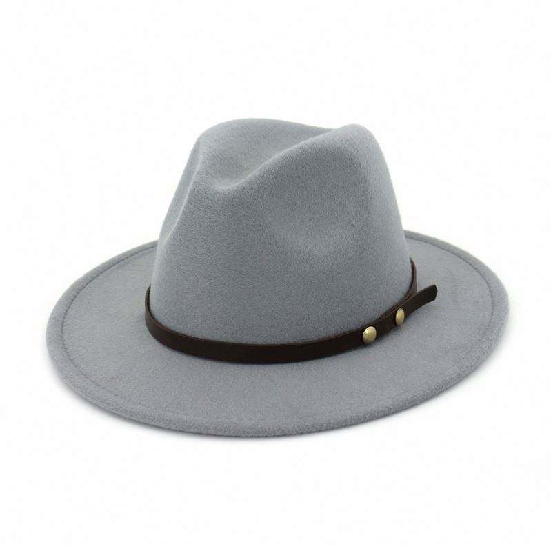 Wholesale Manufacture Elegant Winter Autumn Child Felt Fedora Wide Hat, Flat Brim Formal Faux Wool Felt kid Fedora Hat