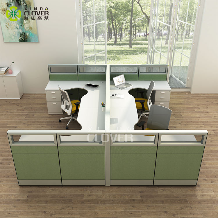 Modern Office Furniture combination workstation Aluminum profile fabric panel 4 seater office workstation