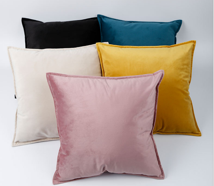 Popular Throw Pillow Custom Amazon popular home velvet binding pillow cover pressure line 1cm pillow sofa cushion cover
