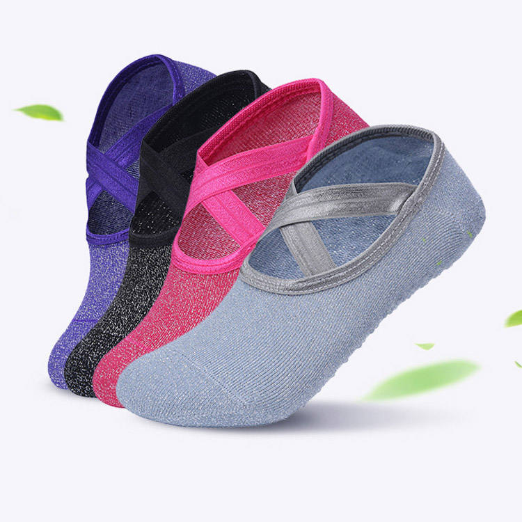 Silver silk Dew foot yoga socks cross strap ballet dance socks for sports fitness equipment
