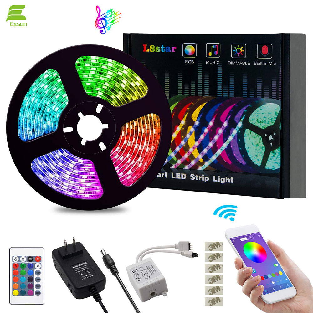 12V Flexible SMD 5050 RGB with Bluetooth Controller Sync Light Strips 5m led strip light