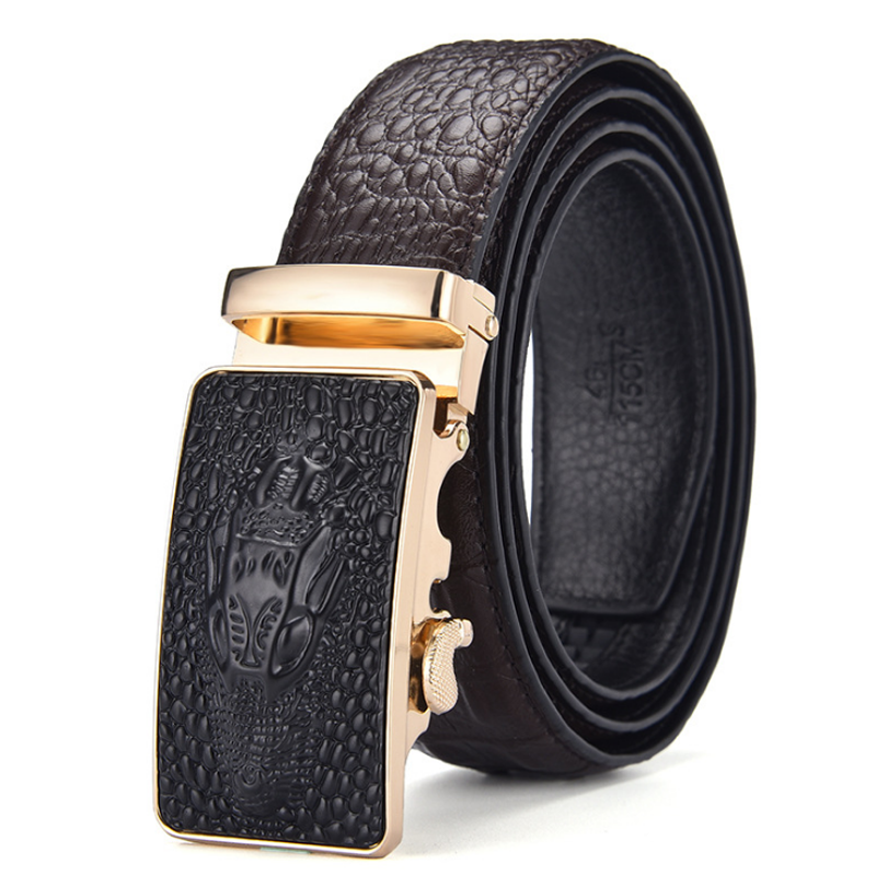 High end luxury genuine crocodile leather belts for men with automatic buckles custom business belt
